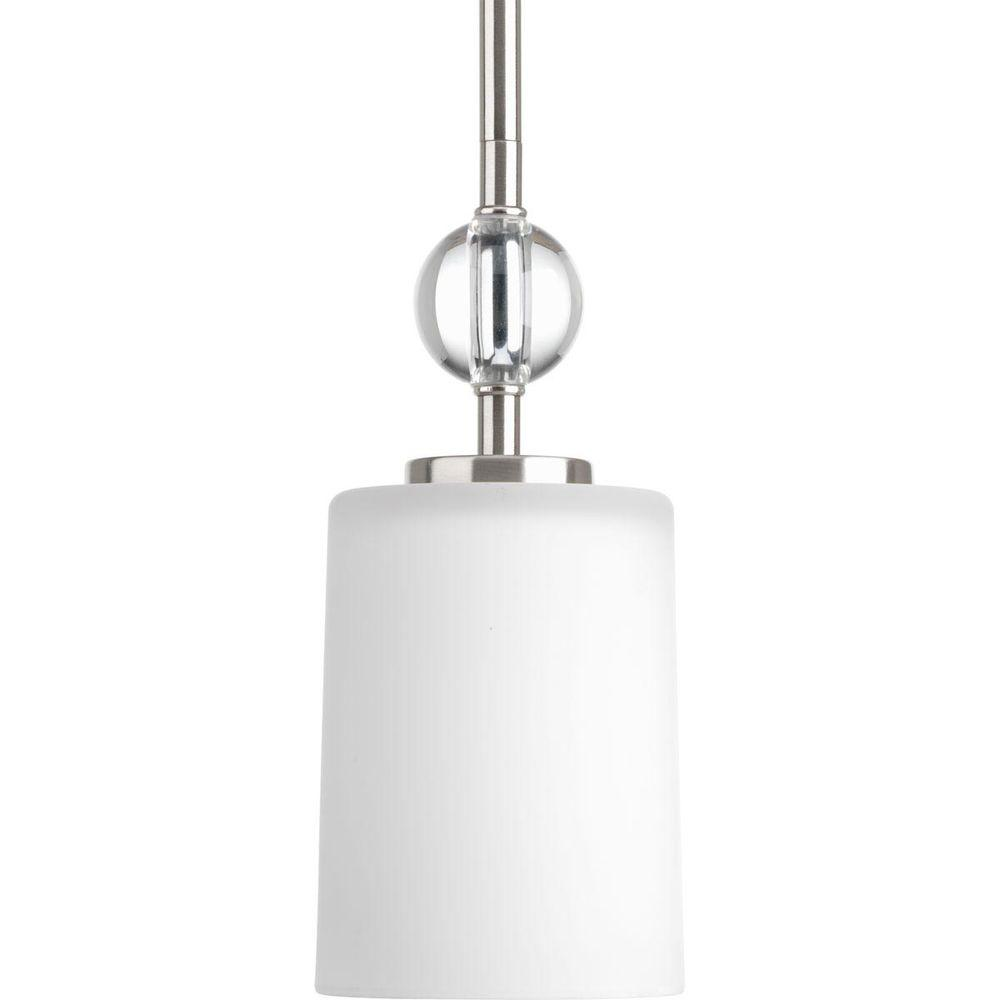 Compass Collection 1-Light Brushed Nickel Mini Pendant with Etched White Glass