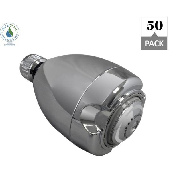 Niagara Conservation Earth 3 Spray 2 7 In Single Wall Mount Fixed 1 25 Gpm Shower Head In Chrome 50 Pack N2912ch 50 The Home Depot