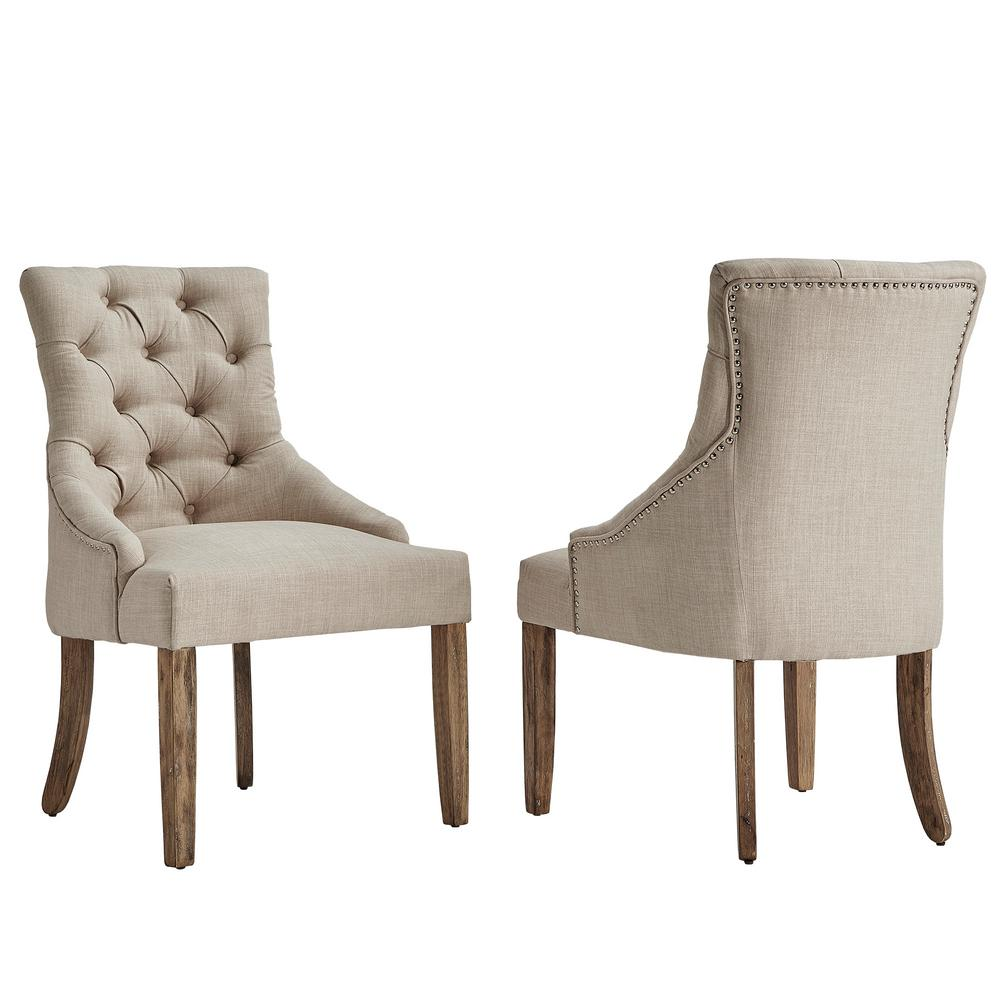 Nice HomeSullivan Marjorie Beige Linen Button Tufted Dining Chair (Set Of 2)