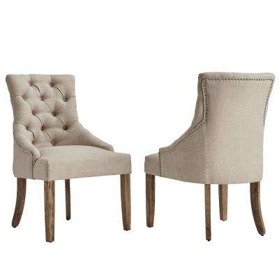 Marjorie Beige Linen Button Tufted Dining Chair (Set of 2)