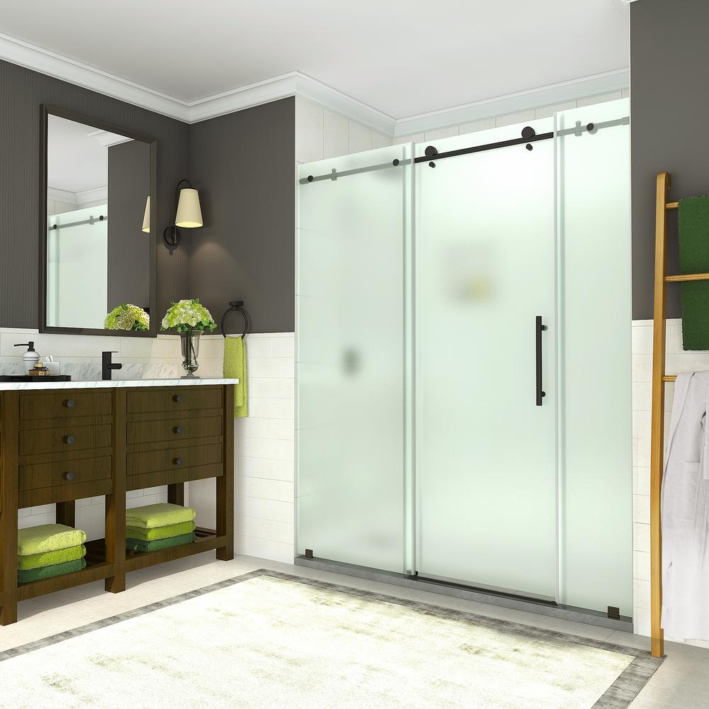 Aston Coraline 68 - 72 in. x 76 in. Completely Frameless Sliding Shower Door w/ Frosted Glass in Oil Rubbed Bronze