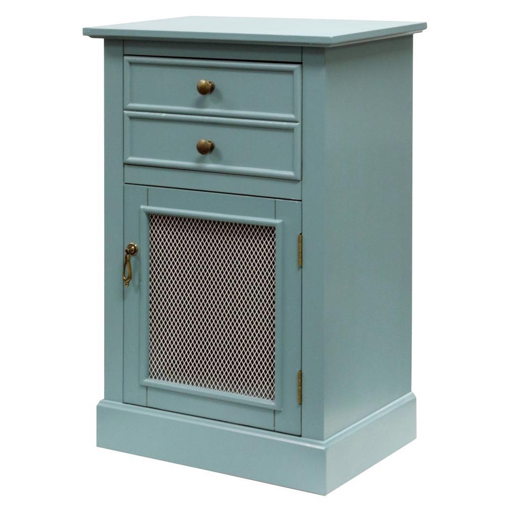 Blue 2-Drawer Single Mesh Door Wood Cabinet