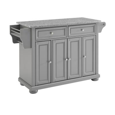 Alexandria Gray Kitchen Island with Granite Top