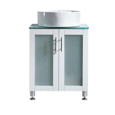 Tuscany 24 in. W x 22 in. D x 30 in. H Vanity in White with Glass Vanity Top in Aqua Green with White Basin