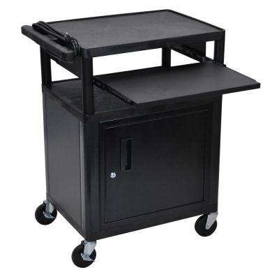 LP 24 in. A/V Cart with Cabinet and Front Pullout Shelf in Black