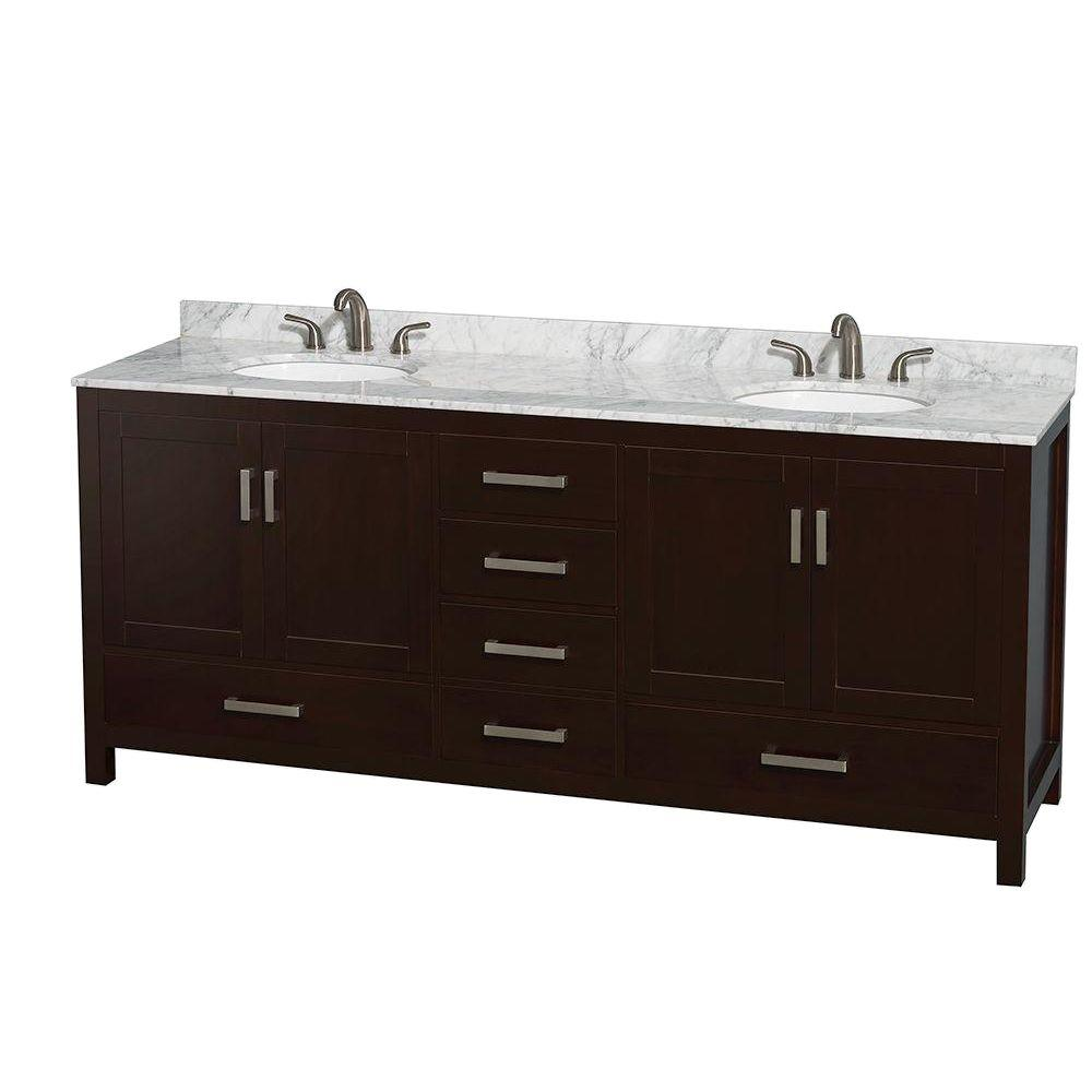 Wyndham Collection Sheffield 80 in. Double Vanity in Espresso with Marble Vanity Top in Carrara White