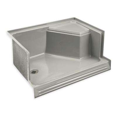 Memoirs 60 in. x 36 in. Acrylic Single-Threshold Right-Hand Seat Shower Base in Ice Grey