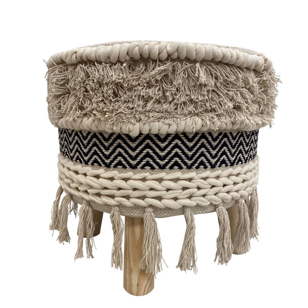Chevron Black and Ivory Textured Fringed Cushioned Bohemian Stool