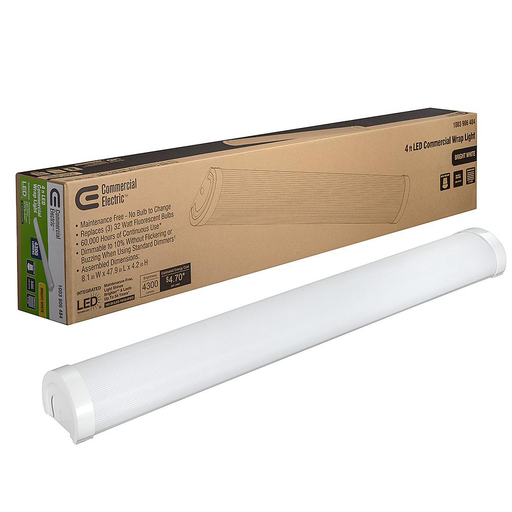 Commercial Electric 4 ft  4300 Lumens Integrated LED Dimmable White  Commercial Wraparound Light 4000K Replaces (3) 32-Watt Fluorescent Bulbs