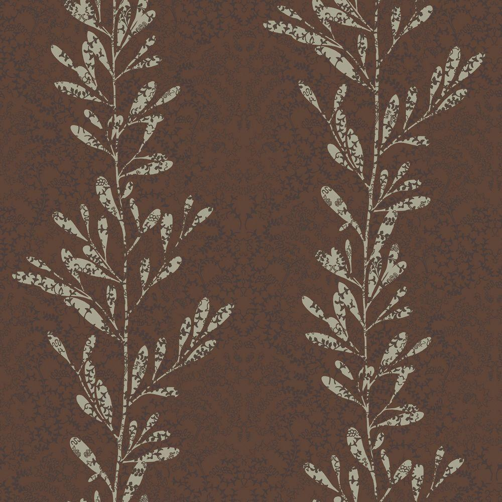 The Wallpaper Company 8 in. x 10 in. Brown and Grey Modern Leaf Stripe with a Textural Lace Overprint Wallpaper Sample