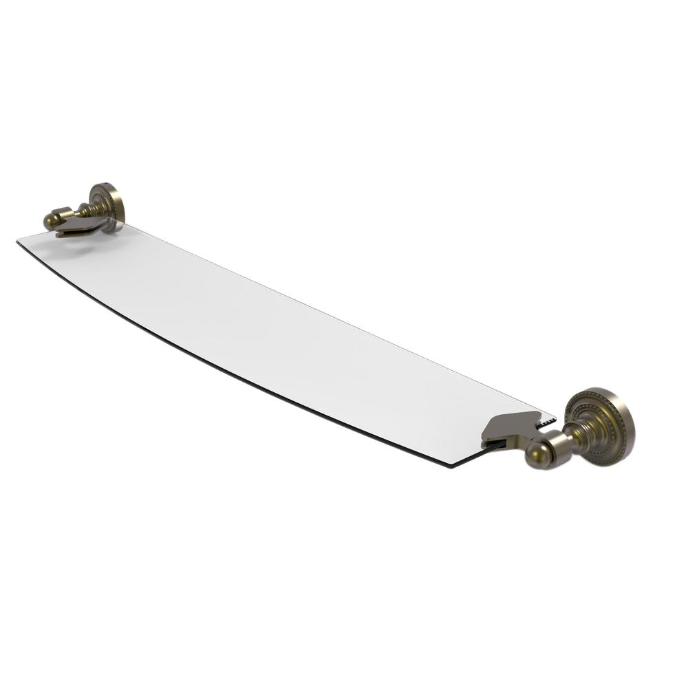 Allied Brass Dottingham 18 in. L  x 2-1/4 in. H  x 5 in. W Clear Glass Bathroom Shelf in Antique Brass