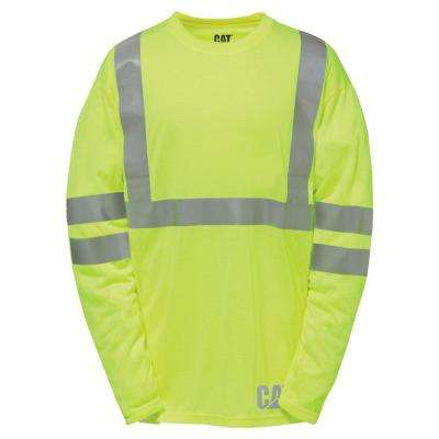 Hi-Vis Men's X-Large Yellow Polyester ANSI Class 2 Long Sleeved T-Shirt