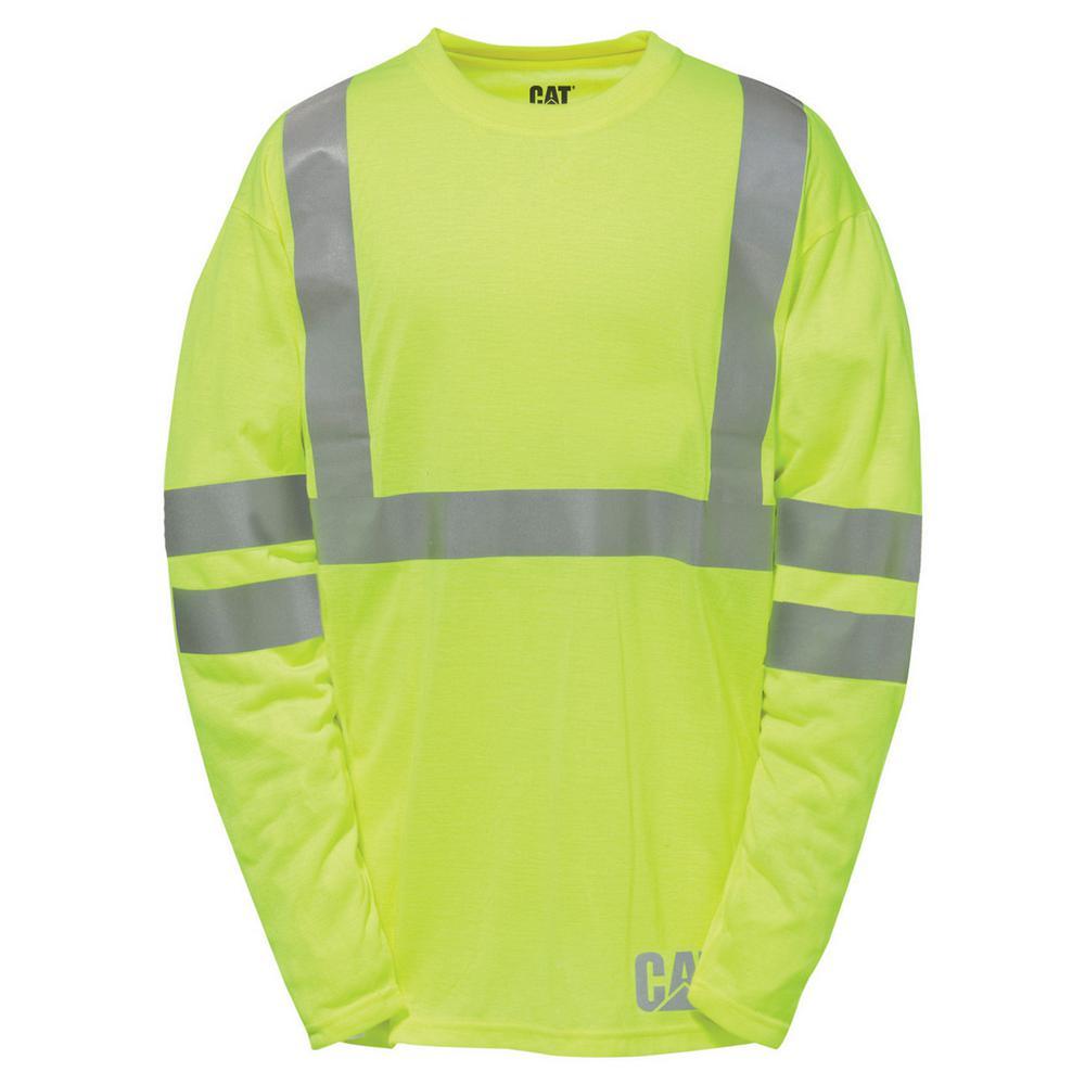 Hi-Vis Men's Tall-2X-Large Yellow Polyester ANSI Class 2-Long Sleeved T-Shirt