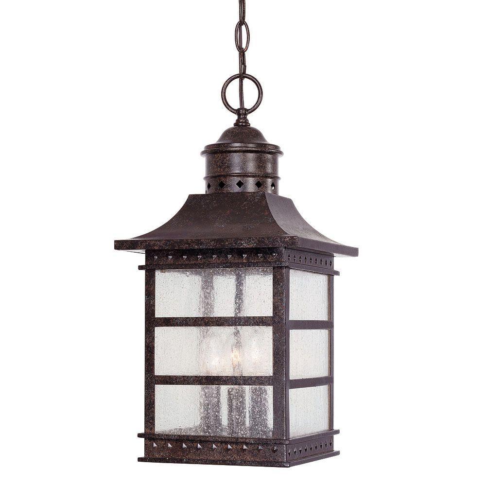 Illumine 3-Light Hanging Lantern Rustic Bronze Finish Pale Cream Textured Glass