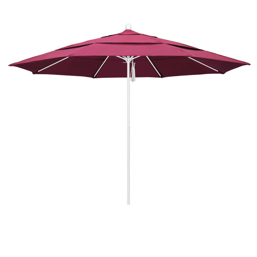 California Umbrella 11 Ft Matted White Aluminum Market Patio