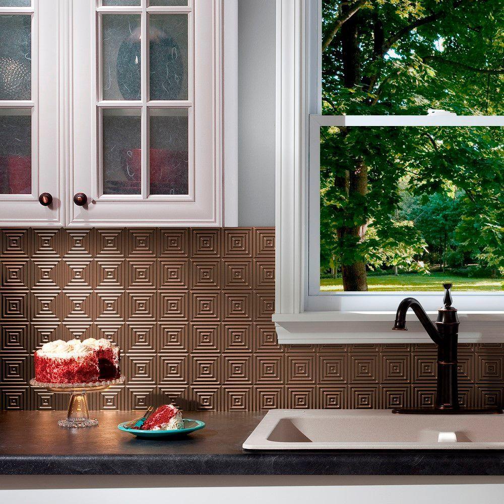 24 in. x 18 in. Miniquattro PVC Decorative Backsplash Panel in