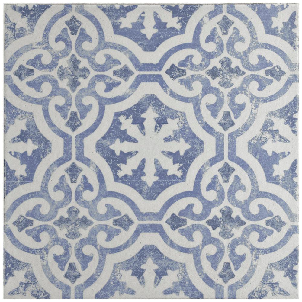 Merola Tile Klinker Alcazar Magnolia Encaustic 12-3/4 in. x 12-3/4 in. Ceramic Floor and Wall Quarry Tile