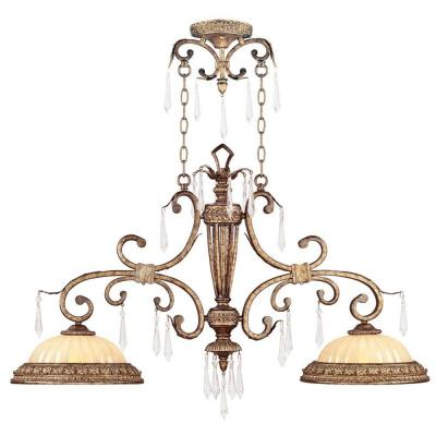 Providence 2-Light Vintage Gold Leaf Incandescent Ceiling Island Pendant