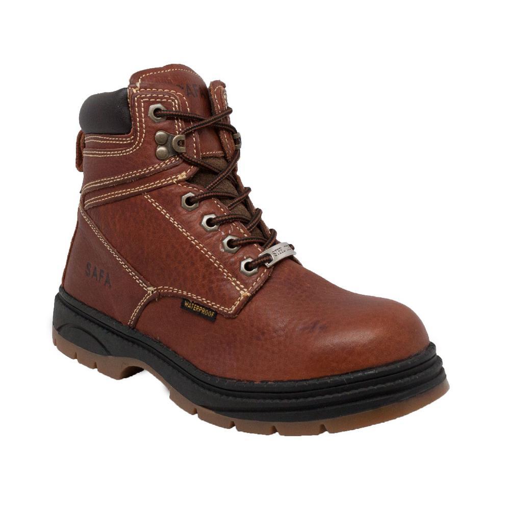 Men's Wide 10.5 Dark Brown Tumbled Leather Waterproof Steel Toe Work Boot