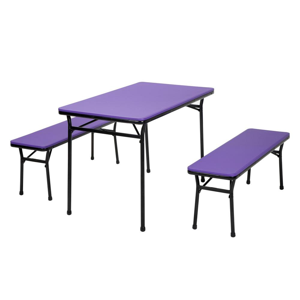 3 Piece Purple Portable Outdoor Safe Folding Table Bench Set