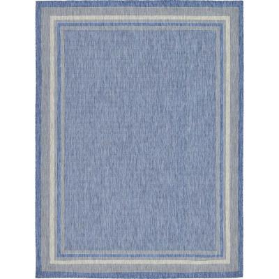 Outdoor Soft Border Blue 9' 0 x 12' 0 Area Rug