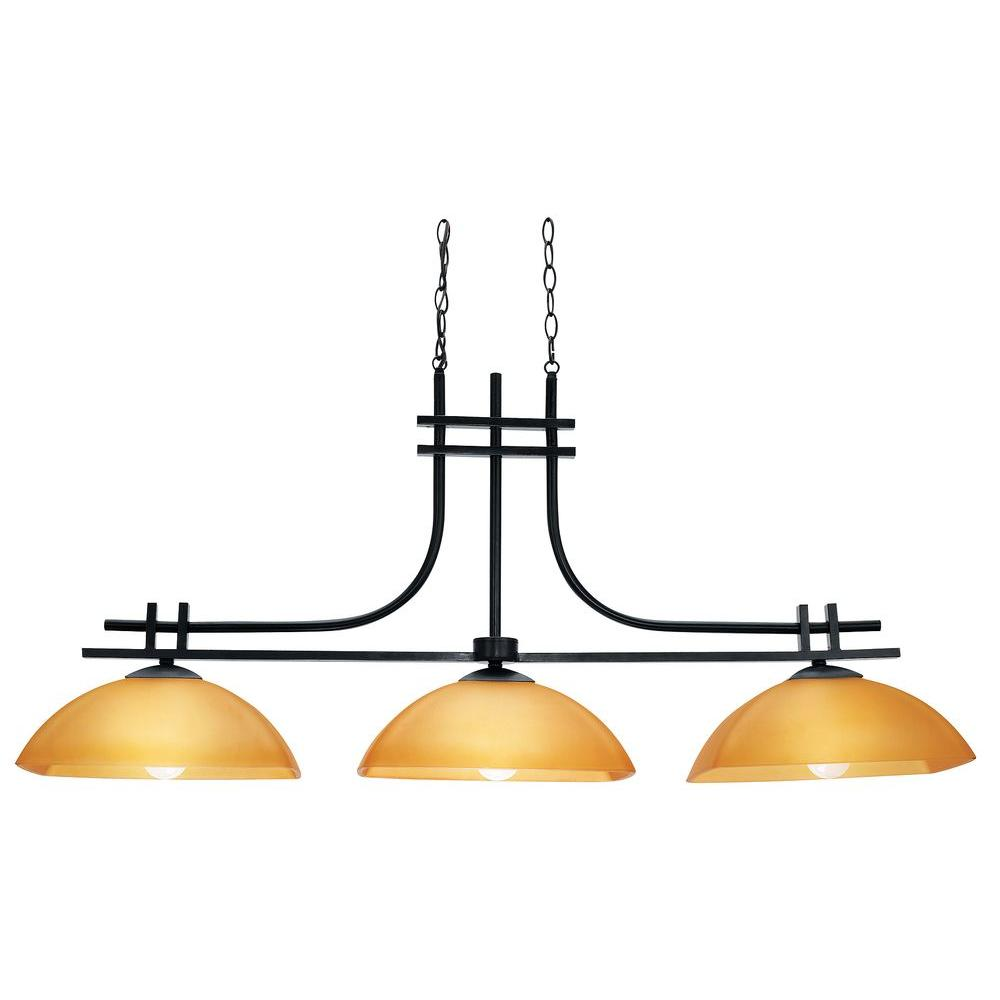 Access Lighting 3-Light Island Pendant Antique Bronze Finish Amber Glass-DISCONTINUED