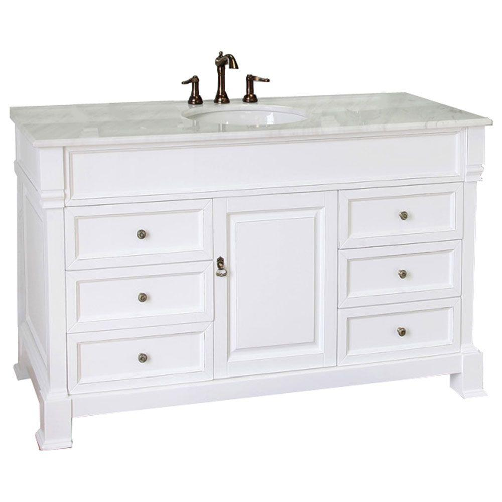 Bellaterra home ashington wh 60 in single vanity in white for Local bathroom vanities