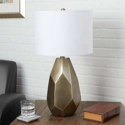 Diana 25.5 in. Antique Gold Table Lamp with Linen Shade