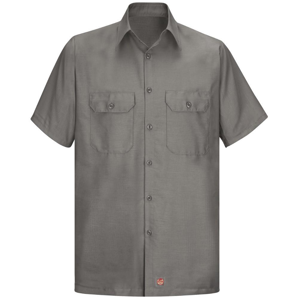 Men's Size 3XL Grey Solid Rip Stop Shirt