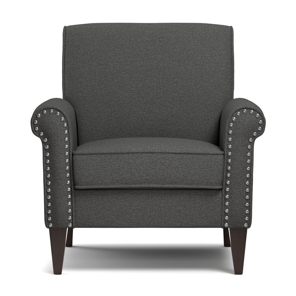 Admirable Handy Living Jean Charcoal Gray Linen Arm Chair B340C Lnn17 Ibusinesslaw Wood Chair Design Ideas Ibusinesslaworg