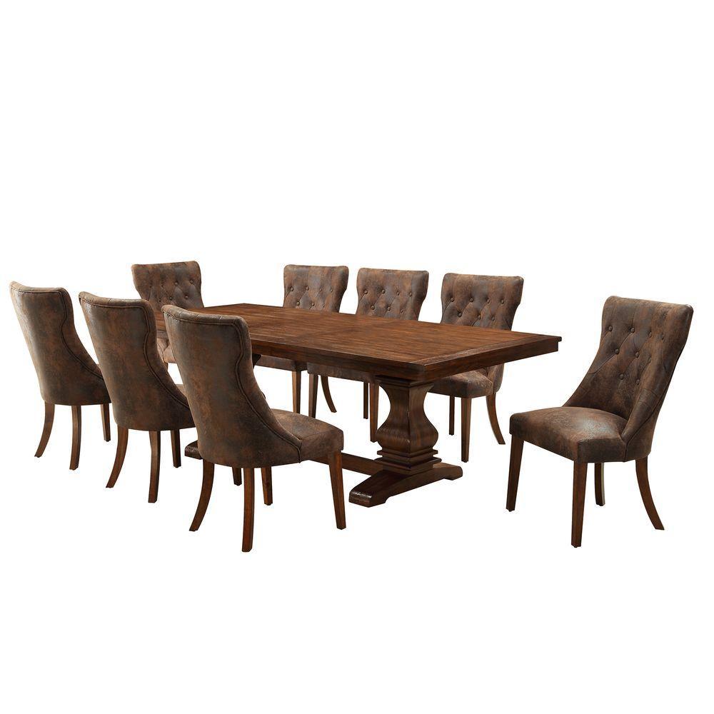 HomeSullivan Regina 9 Piece Weathered Oak Dining Set
