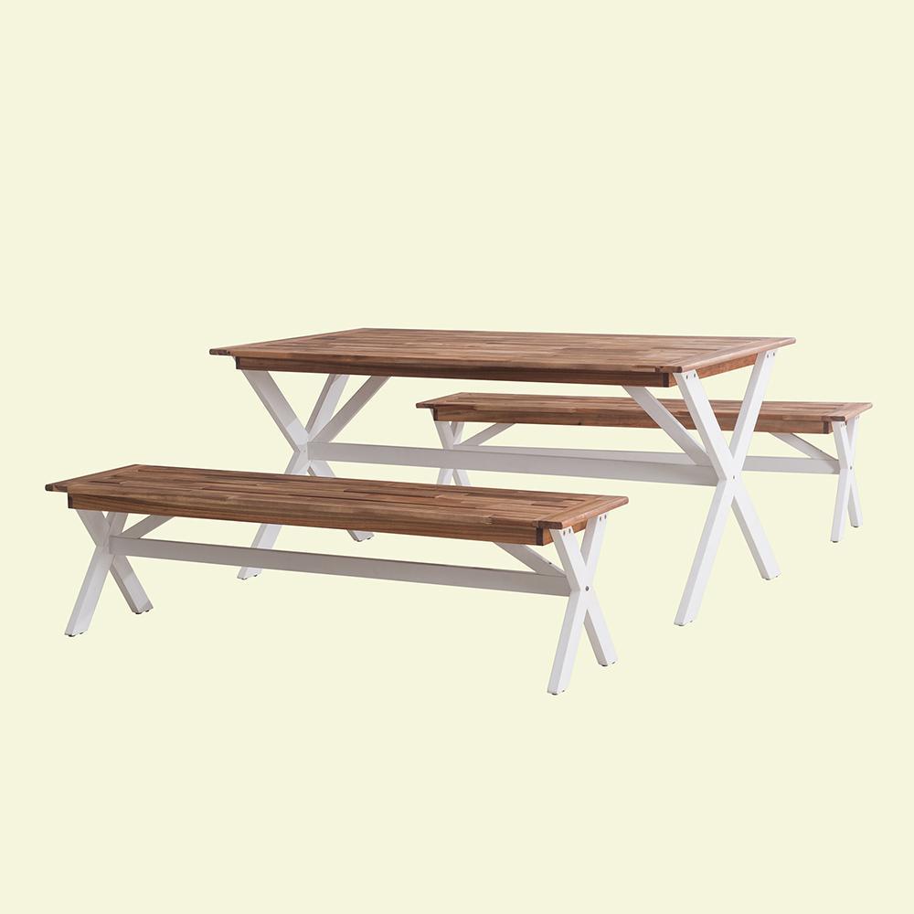 Picnic 3-Piece Wood Cross-Leg Outdoor Bistro Set