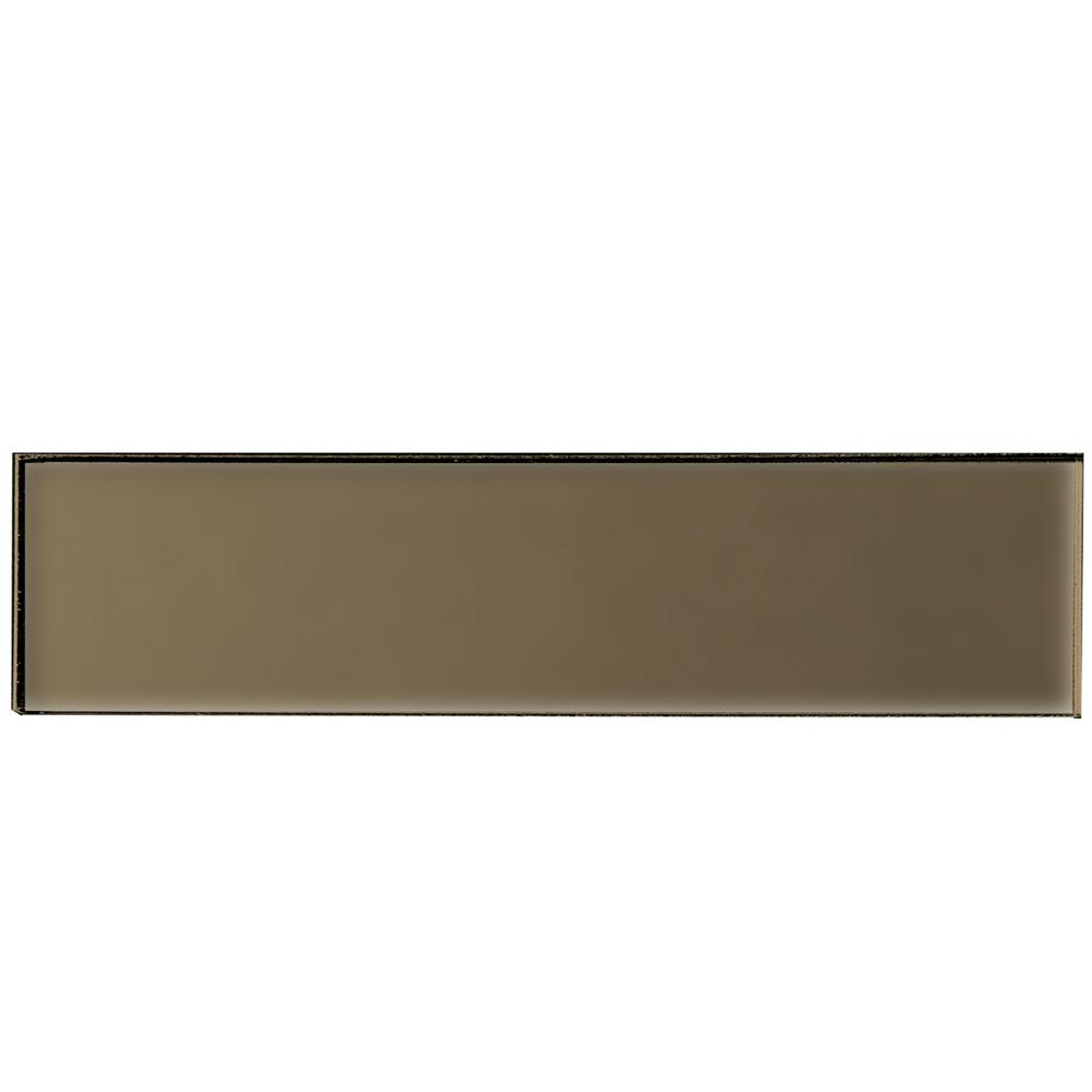 Secret Dimensions Bronze 2 in. x 8 in. Matte Glass Wall