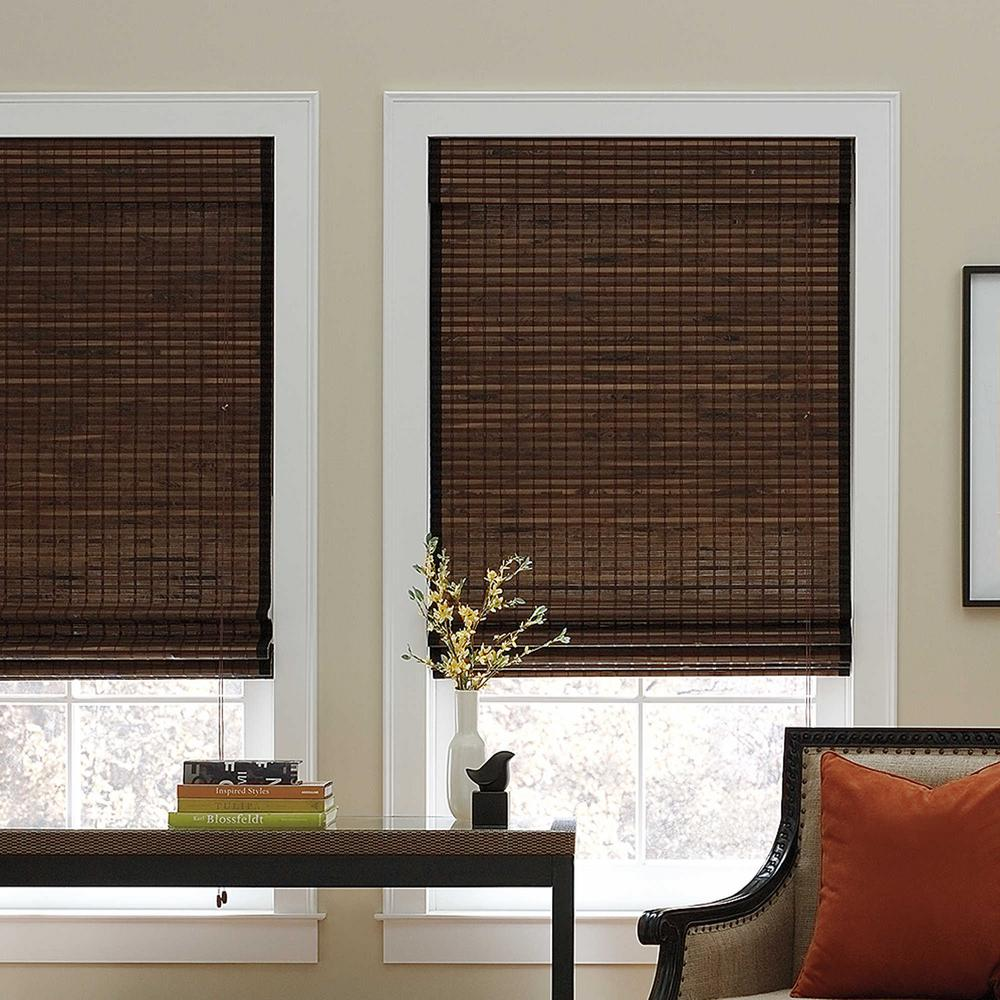 Cut-to-Width Chocolate Corded Natural Bamboo Roman Shade - 27 in. W