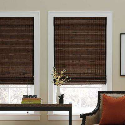 Cut-to-Width Chocolate Corded Natural Bamboo Roman Shade -   35 in. W x 72 in. L