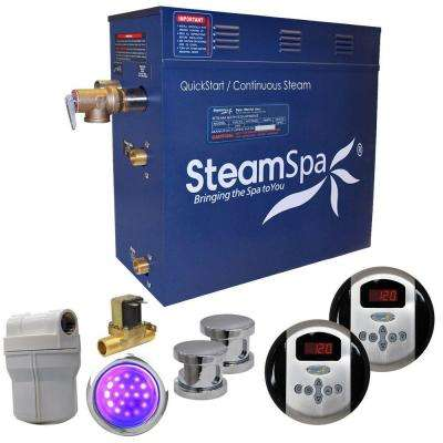 Royal 12kW QuickStart Steam Bath Generator Package with Built-In Auto Drain in Polished Chrome