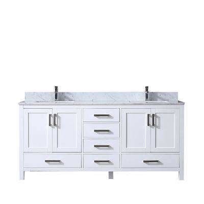 Jacques 72 in. Double Vanity White, White Carrera Marble Top, White Square Sinks and no Mirror