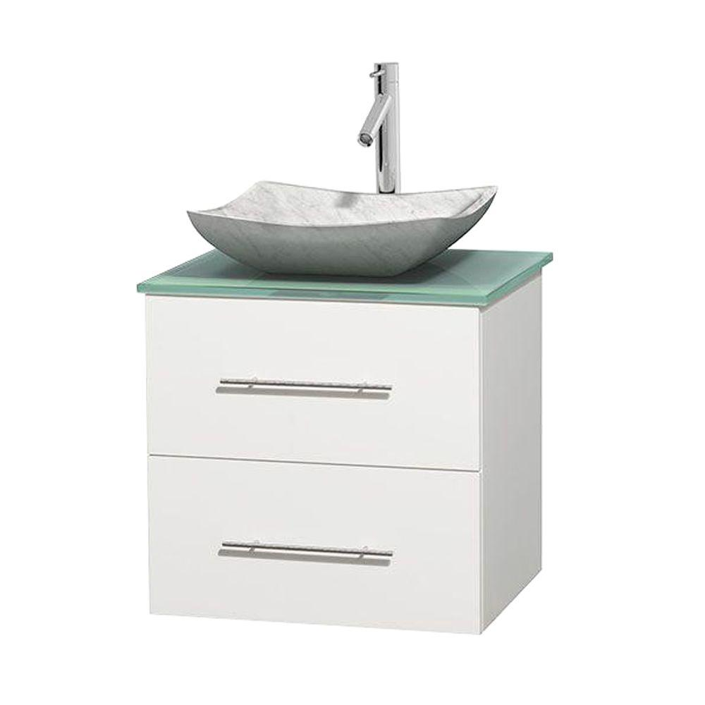 Wyndham Collection Centra 24 in. Vanity in White with Glass Vanity Top in Green and Carrara Sink