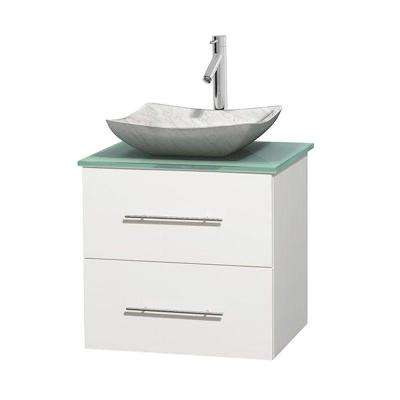 Centra 24 in. Vanity in White with Glass Vanity Top in Green and Carrara Sink