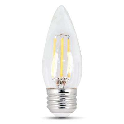 60-Watt Equivalent (2700K) B10 Dimmable Filament LED Clear Glass Light Bulb, Soft White (Case of 12)