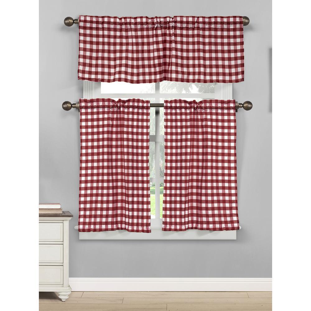 Kingston 15 in. W x 58 in. L 3-Piece Kitchen Curtain in Tiers /Wine