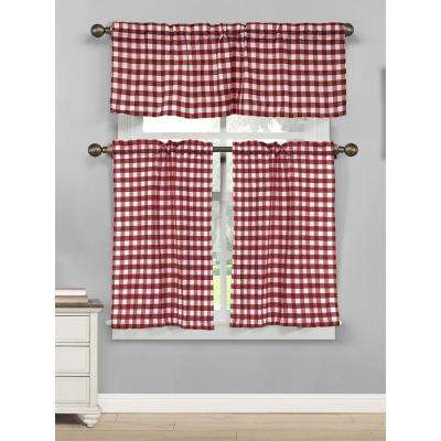 Kingston 15 in. W x 58 in. L 3-Piece Kitchen Curtain in Tiers /Wine