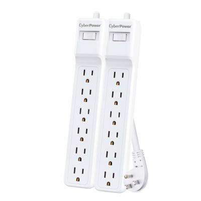 6-Outlet Surge 2 ft. Cord 500J in White (2-Pack)