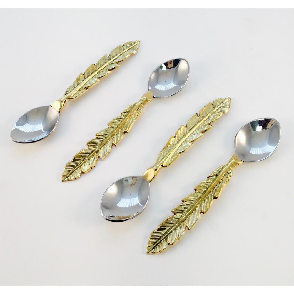 4-Piece Feather Design Coctail Spoons Set