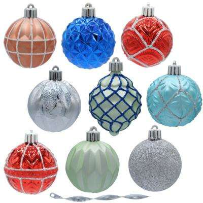 snowtop dazzle 60 mm assorted ornament - Teal Christmas Ornaments