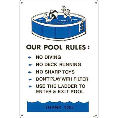Residential or Commercial Swimming Pool Signs, Above Ground Pool Regulations