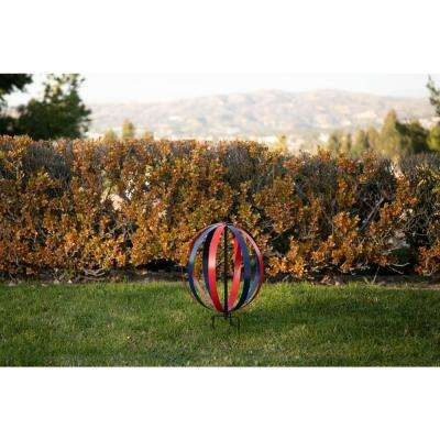 14 in. Tall Blue and Red Dual Metal Round Hanging or Stake Sphere
