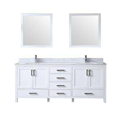 Jacques 80 in. Double Bath Vanity in White w/ White Carrera Marble Top w/ White Square Sinks and 30 in. Mirrors