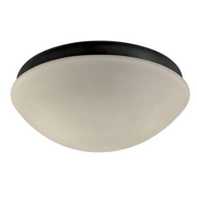 Textured Black Outdoor Ceiling Fan Globe Light
