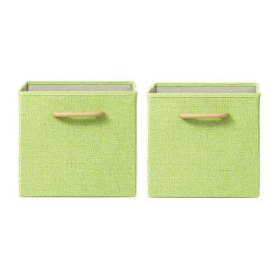 Collapsible Green Storage Bin with Handles (Set of 2)